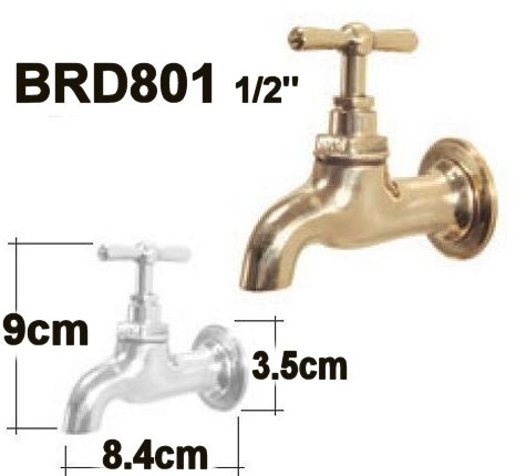 LEFT BRD801 1/2  - Traditional Style Brass Tap Specs Garden Brass Tap with escutcheon back plate.  sc 1 st  Garden Taps Decorative Faucets Water Spigots u0026 Fountain Spouts & Classic Indoor u0026 Outdoor Brass Polished Taps u0026 Hose Bibs